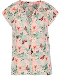 7893194cf30ef1 Joie - Woman Racel Floral-print Washed-silk Top Pastel Pink - Lyst