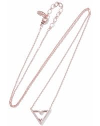 Astrid & Miyu - Woman Fitzgerald Triangle 18-karat Rose Gold-plated Crystal Necklace Rose Gold - Lyst