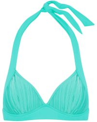 Seafolly - Woman Pleated Halterneck Bikini Top Turquoise - Lyst