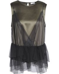 Brunello Cucinelli - Layered Embellished Tulle And Stretch-silk Satin Top - Lyst
