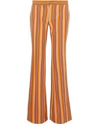 Derek Lam - Woman Striped Cotton-twill Flared Pants Orange - Lyst