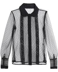 RED Valentino - Guipure Lace-trimmed Point D'esprit Blouse - Lyst