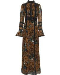 b726ad28849 Anna Sui - Woman Lace-trimmed Printed Chiffon Maxi Dress Light Brown - Lyst