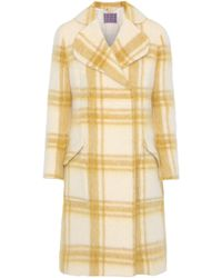 ALEXACHUNG - Woman Double-breasted Checked Wool-blend Coat Mustard - Lyst