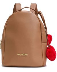 Love Moschino Pompom-embellished Faux Leather Backpack Tan - Brown