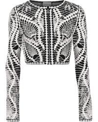 Hervé Léger - Imogen Cropped Jacquard-knit Top - Lyst