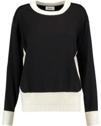 DKNY | Ribbed-knit Trimmed Jersey Sweater | Lyst
