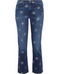 Current/Elliott - Woman Cropped Printed Mid-rise Slim-leg Jeans Mid Denim - Lyst