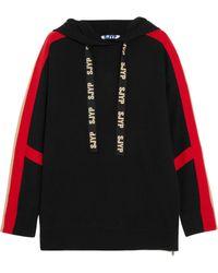 SJYP - Hooded Striped Knit Jumper - Lyst