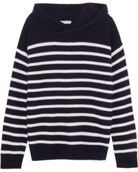 Vince - Hooded Striped Cashmere Sweater - Lyst
