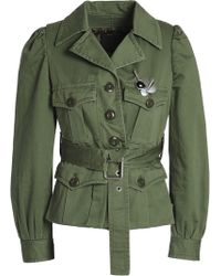 Marc Jacobs - Woman Embellished Cotton Jacket Army Green - Lyst