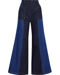 Paper London - Two-tone High-rise Wide-leg Jeans - Lyst