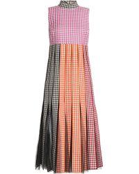 Christopher Kane - Paneled Pleated Gingham Cotton Midi Dress - Lyst