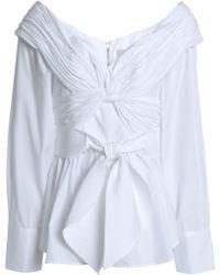 Johanna Ortiz - Woman Off-the-shoulder Gathered Cotton-poplin Blouse White - Lyst