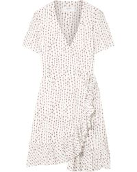 La Ligne - Ruffled Printed Crepe Mini Wrap Dress White - Lyst