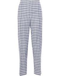 Nina Ricci - Checked Wool-blend Twill Straight-leg Pants Light Blue - Lyst