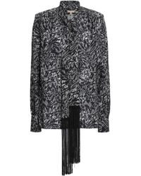 Michael Kors - Woman Fringe-trimmed Printed Silk-crepe Blouse Black - Lyst