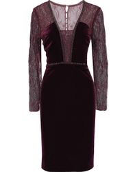Badgley Mischka - Embellished Velvet Dress - Lyst