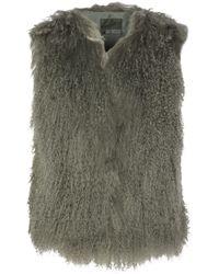 Karl Donoghue | Shearling Vest Grey Green | Lyst