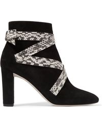 Jimmy Choo - Heat Suede And Elaphe Ankle Boots - Lyst