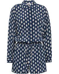 Tory Burch - Woman Gathered Printed Silk Playsuit Navy - Lyst