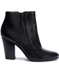 MICHAEL Michael Kors - Snake-effect And Smooth Leather Ankle Boots - Lyst