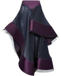 Esteban Cortazar - Asymmetric Ruffled Metallic Tulle And Duchesse-satin Midi Skirt - Lyst