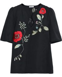 Vilshenko - Embroidered Cotton And Silk-blend Faille Top - Lyst