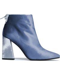 Stuart Weitzman - Bow-detailed Velvet Ankle Boots Sky Blue - Lyst