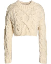 DKNY - Cropped Open-back Cable-knit Merino Wool Jumper - Lyst