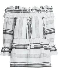 Rachel Zoe - Off-the-shoulder Striped Cotton, Linen And Ramie-blend Top - Lyst