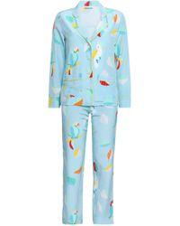 Mira Mikati - Woman Printed Silk Pajama Set Light Blue - Lyst