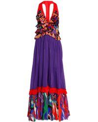 Roberto Cavalli - Panelled Printed Cotton Maxi Dress - Lyst