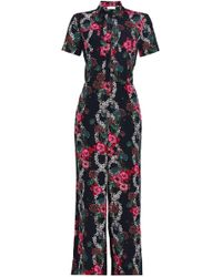 8f5281f55b30 Sandro - Woman Floral-print Crepe De Chine Jumpsuit Black - Lyst