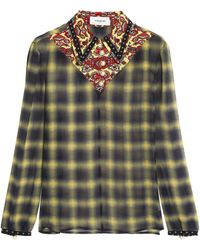 COACH - Printed Silk Georgette-trimmed Checked Gauze Shirt - Lyst