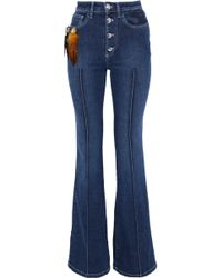 Sonia Rykiel - Embellished Embroidered Mid-rise Flared Jeans Mid Denim - Lyst