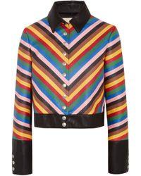 Sara Battaglia - Cropped Striped Leather Jacket - Lyst