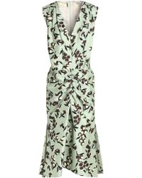 Marni - Ruched Floral-print Cotton And Silk-blend Dress - Lyst