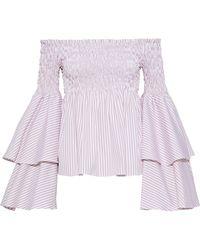 f68fdaabbcac79 Caroline Constas - Woman Appolonia Off-the-shoulder Striped Cotton-poplin Blouse  Antique