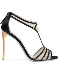 2ab2e1d4c8f3 Giorgio Armani - Woman Crystal-embellished Satin-trimmed Mesh Sandals Black  - Lyst