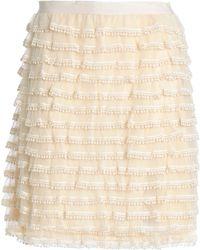RED Valentino - Crochet-trimmed Tulle Mini Skirt - Lyst