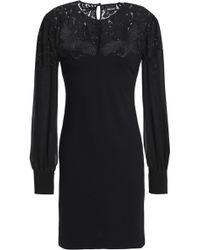 Just Cavalli - Lace-paneled Jersey Mini Dress - Lyst