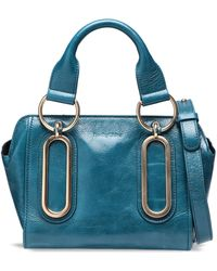 See By Chloé - See By Chloé Woman Embellished Glossed-leather Shoulder Bag Teal - Lyst
