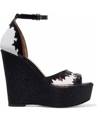 M Missoni - Woven-paneled Pvc-trimmed Leather Wedge Sandals - Lyst