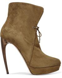 Alexander McQueen - Suede Platform Ankle Boots Sage Green - Lyst