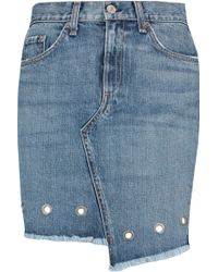 Rag & Bone - Asymmetric Denim Mini Skirt - Lyst