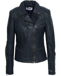 Muubaa - Woman Ribbed Knit-paneled Leather Biker Jacket Storm Blue - Lyst