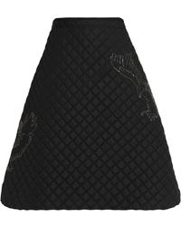 MSGM - Crystal-embellished Quilted Shell Skirt - Lyst