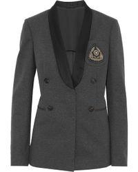 Brunello Cucinelli - Satin-trimmed Embellished Cotton-blend Jersey Blazer - Lyst