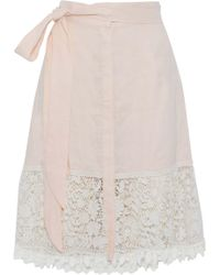 Miguelina - Corded Lace-paneled Linen-gauze Skirt Pastel Pink - Lyst